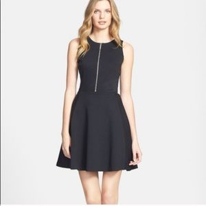 Black Fit and Flare Dress with Zippered Front